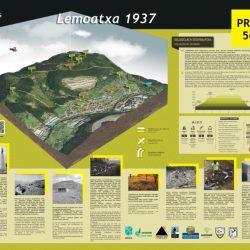 """Señalización del PR-BI 56 """"Lemoatxa 1937"""" homologación, Información promocional, folleto, track, perfil, descripción, etc.Panel-de-Senbide-empresa-de-señalizacion-de-rutas"""